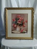 """""""Timeless Tulips"""" by Jennie Tomao Giclee Print Gold Gilded Framed 20x24"""