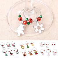 Cy_ Qu_ Set of 6 Christmas Wine Glass Charms Pendant Drink Markers Rings Tag Tab