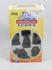 DC Heroclix Icons Starter Set NEW 3-D Combat Game Batman Harley Quinn - 6 Total!