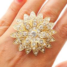 Neu Blumen Ring Strass Steine dehnbar Fingerring gold-farben Kristall groß Motiv