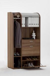 Rolladenschrank mit Jalousie Aktenschrank Garderobe Büro SO991 Nussbaum