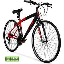 "Hybrid Fitness Bike 28"" Red Aluminum Frame Men Sport City Bicycle Shimano New!"