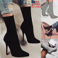 Women Pointed Toe Stiletto Heel Mid-calf Zip Up Boots Party Dress Casual Shoes
