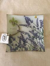 Michel Design Works Lavender Fleur Decoupage Square Glass Plate New!