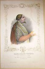 1845ca GIAN GALEAZZO VISCONTI litografia Bacchini Vigotti duca Milano Parma