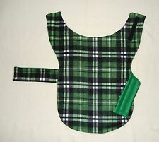 GREEN/BLACK/WHITE PLAID FLEECE MEDIUM DOG COAT-40-50 LB DOG