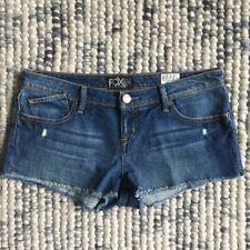 FOX DENIM Women's Size 7 (28) Joyride Blue Denim Cut Off Shorts Frayed Edges