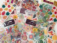 Stickopotamus Sticko Cathy B. Vellum Stickers - Flower Floral Leaves - 15 Sheets