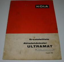 Ersatzteilliste Köla Abladehäcksler Ultramat Ersatzteilkatalog Stand 1966!