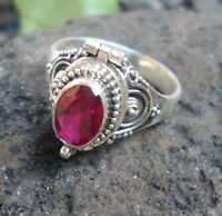 925 Solid Silver Balinese Poison Locket Ring With Ruby Cut Size 7-H67