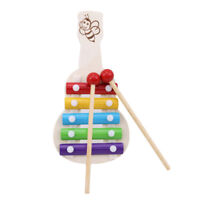 Rainbow Xylophone Guitar Shape Musical Instrument Kids Learning Wooden Toy AL