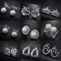 Women Fashion Zircon Pearl Ear Stud Earrings Ladies Charm Jewelry Gifts Party