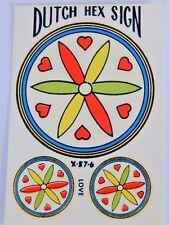 Nos Vintage 1960s Deadstock Dutch Hex Sign Sticker LOVE Hearts Impko Decal Retro