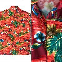 Vintage 70s Island Fashions Aloha Hawaii Hawaiian Shirt Sailing Canoe Rayon M