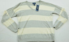 women's CHAP'S gray & white light sweater size large v neck MSRP $59 brand new