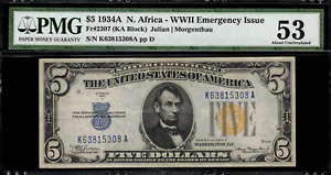 1934A $5 North Africa WWII Emergency Issue FR-2307 - PMG 53 - About Uncirculated