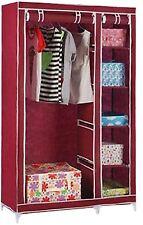 FARNDALE WARDROBE STORAGE CLOSET CLOTHES ORGANISER RAIL HANGING SHELF RED