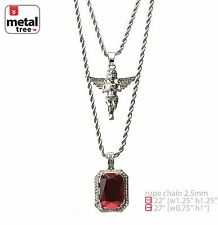 "Men's Silver Plated Baby Angel Red Ruby 22""/27"" Combo Pendant Chain MHC 213 S"
