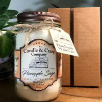 Pineapple Sage Soy Candle, Handmade 16oz Mason Jar Smells AMAZING Free Shipping!