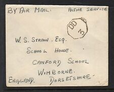 GB ACTIVE SERVICE AIR MAIL WARTIME ENVELOPE BEARING DD3 HANDSTAMP