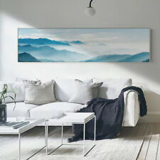 Extra Large Canvas Print - Panoramic Blue Mountain Sky Digital Art - Unframed