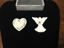 Ceramic Lenox Pin Pins Broach Heart With A Dove Angel Star Crt