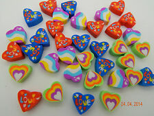 36 Mini Heart Shaped Erasers Rubbers Party Bag Treat Eraser Novelty *Very small*