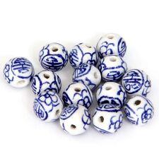 12Pcs Hand Painted Flower Ceramics Porcelain Beads Finding--10mm