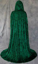 Unlined Green Velvet Renaissance Cloak Cape Wedding Wicca Medieval LOTR Cosplay