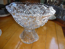 GORGEOUS VINTAGE PRESSED GLASS  PUNCH BOWL ON PEDESTAL! FRUIT COMPOTE SIZE, 2 PC