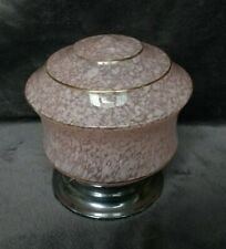 1950's 1960's Original Speckled Glass Ceiling Light on Chrome Base - Pink Flecks