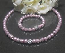** Wunderschönes** 2tlg. Schmuckset  zart-rosa  Shamballa Perlen  Strass Rondell