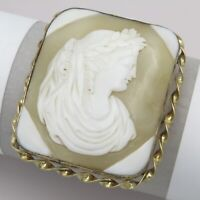 Antique Victorian Gold Gilt Carved Shell Cameo Goddess Nike Laurel Brooch Pin