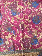 Liz Claiborne Silk Scarf Square Red Blue Brown Hand Rolled Edge Vintage 1980