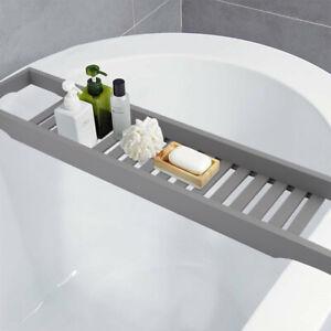 Bamboo Wood Bath Tub Rack Bathroom Shelf Tidy Tray Storage Caddy Organiser Grey