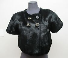 New! BCBGMAXAZRIA Genuine Fur Short Sleeve Button Bolero Black No Size (Small)