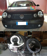 VW POLO 9N 01-05 FARI ANTERIORI ANGEL EYES + KIT ABBAGLIANTE ANABBAGLIANTE A LED