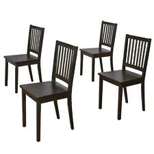 Espresso Shaker Dining Chairs Set-of-4 Office Home Kitchen Wooden Seat Furniture