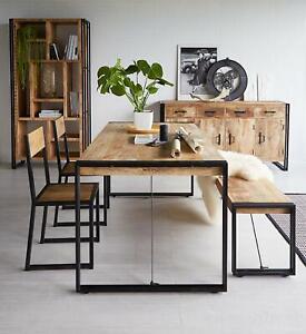 Industrial Metal & Solid Wood Medium Dining Dinner Table 6 People Handmade