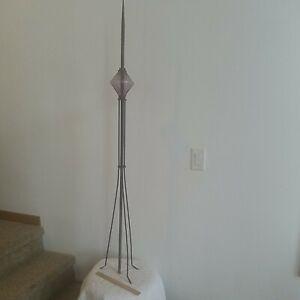 Vintage Copper Lighting Rod With 5 Inch Purple Diamond Electra Glass Globe