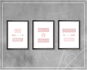 Girls Bedroom Wall Art Prints Bedroom Decor Sisters Personalised Dusky Pink A4