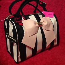 BETSEY JOHNSON WEEKENDER  DUFFLE BAG PINK BLUSH LUGGAGE BOW PEARLS NEW STRIPE