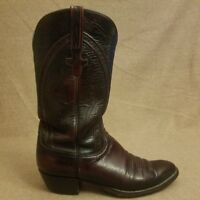 Lucchese Style 6630 Men Black Cherry Leather Goat Western Cowboy Boots Size 10 D