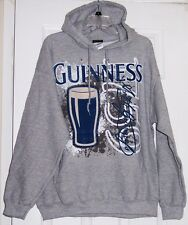 Guinness Stout Beer Large Print Gray Adult Hoodie Sweatshirt Large