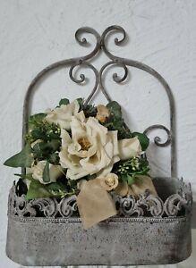 Wall Mounted Basket Shelf Metal Plant Box Flower Hanging Shabby 13 13/16in