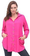 fushia shirt blouse collar buttons womens style OS M L XL 1X 2X  zs473
