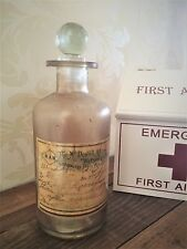 Vintage Medicine Apothecary Bottle Brown Glass Chemist Pharmacy Antique Style