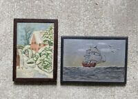 Pair Painted And Carved Folk Art Wood Plaques Antique AAFA Signed Dated 1940