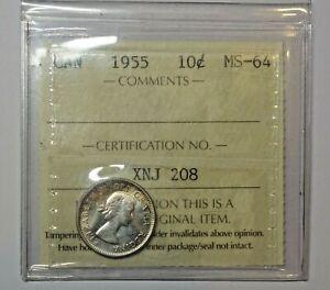 CANADA : SILVER TEN CENT 1955.  ICCS