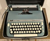 Smith-Corona Super Sterling Blue Manual Portable Typewriter with Case & Key